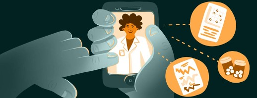 A person accepts a telehealth call on their smartphone, with the doctor pictured on the screen