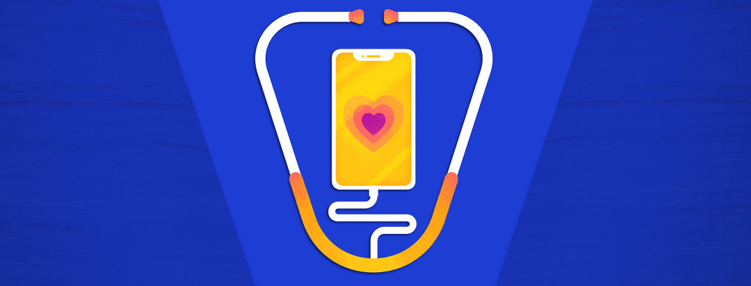 Phone with a heart on the screen while a stethoscope is plugged into the headphone jack.