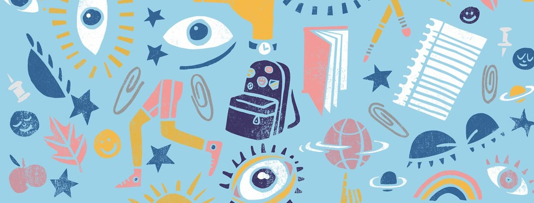 Collage of illustrated school supplies and eyes, symbolizing the struggle of managing narcolepsy and school
