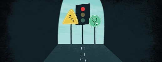 a caution sign with Zs on it, a red traffic light, and a green sign with a stethoscope on it at the end of a dark tunnel