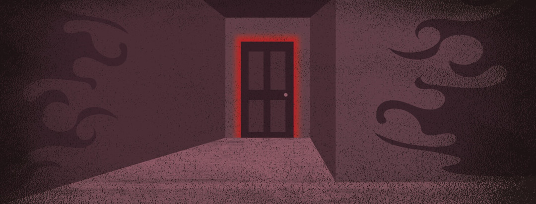 a dark hallway with looming shadows and a door glowing red