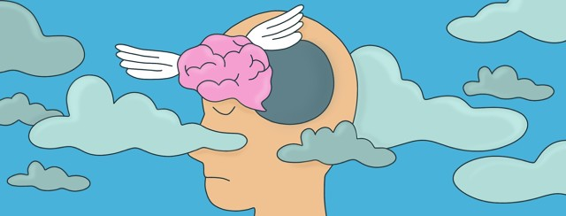 A brain is flying out of the head of a person with narcolepsy as dark foggy clouds set in