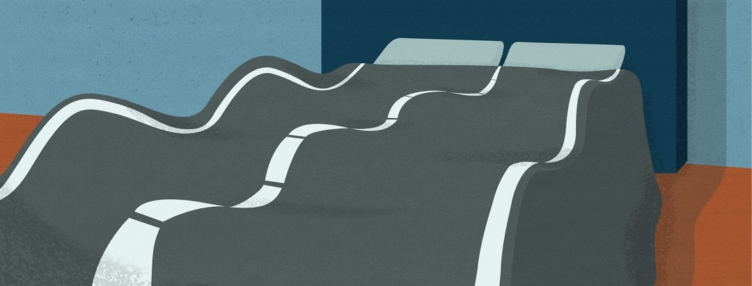 A road made of the bed comforter of a bed