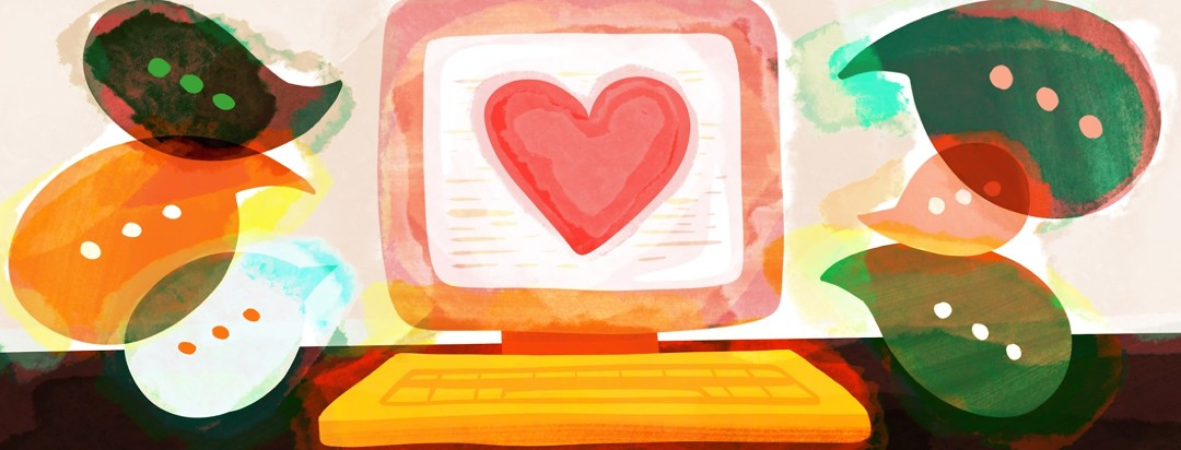 computer screen shows a large heart while dialogue bubbles are sprouting from the screen, showing online community for people with narcolepsy
