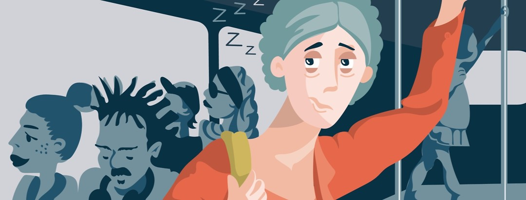 a woman with narcolepsy standing on a bus looking extremely tired