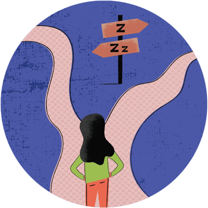 a woman standing at the mouth of a path that diverges in two different directions