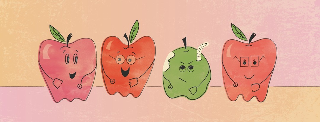 four apples dressed as doctors most of them red and friendly looking, while one of them is green, angry, and has a worm coming out of it