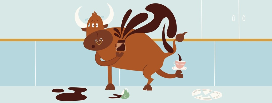 a bull pouring coffee into a cup balanced on its back hoof with spilled coffee and broken china all around him