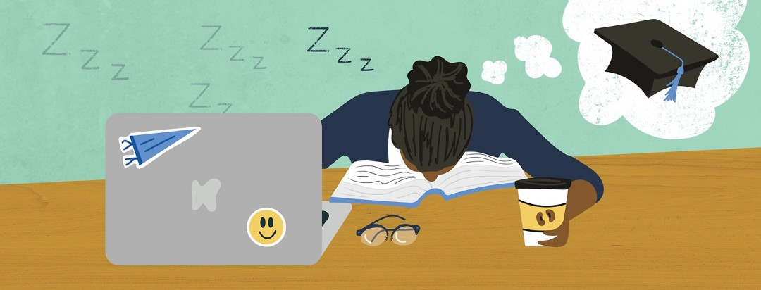 a girl with narcolepsy asleep on a book dreaming about graduating