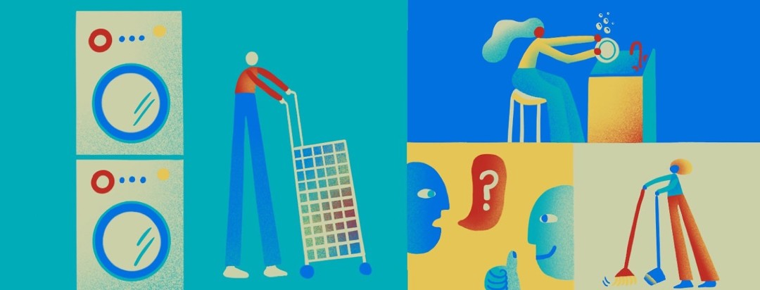 different squares containing people with narcolepsy doing various household chores