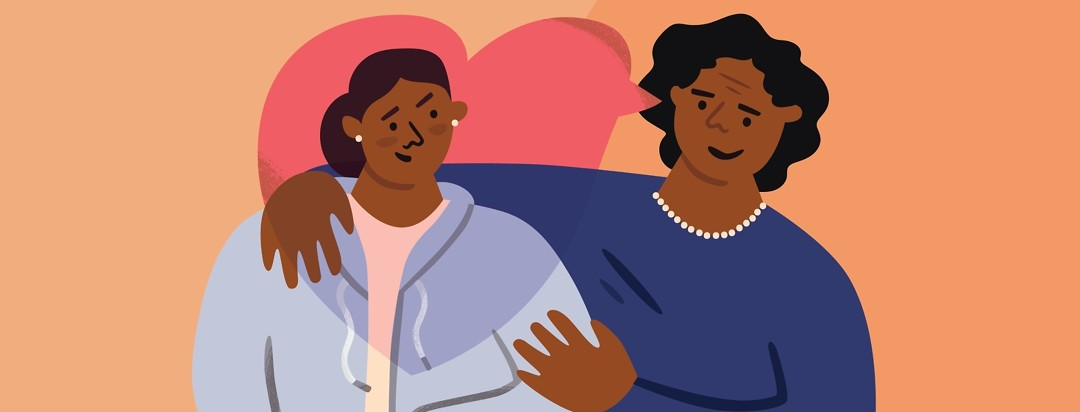 a mother embracing her daughter who has narcolepsy with a speech bubble shaped like a heart