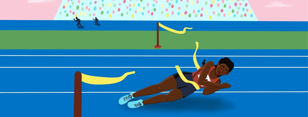 Track runner falling asleep right through the finish line.