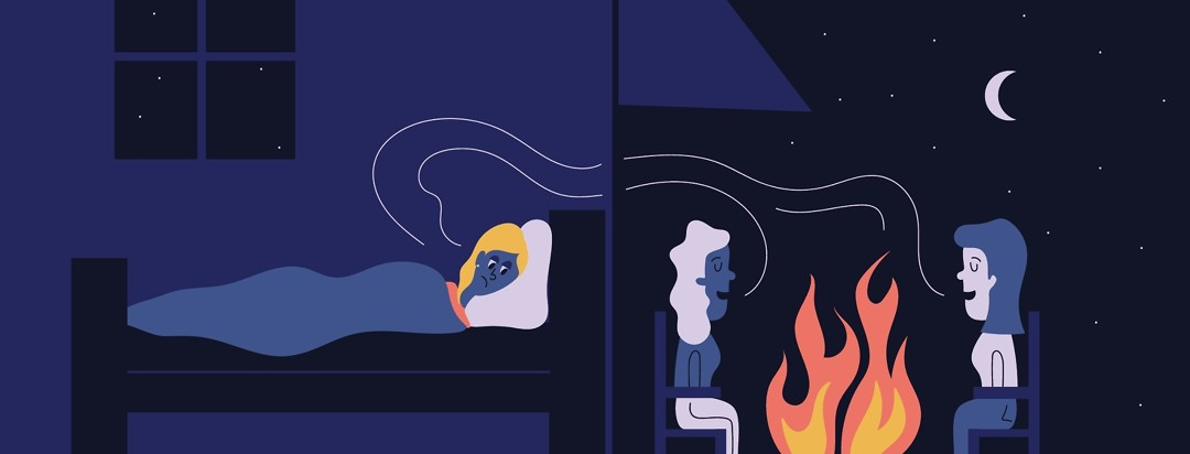 a woman laying in her bed listening to people outside laughing around a campfire