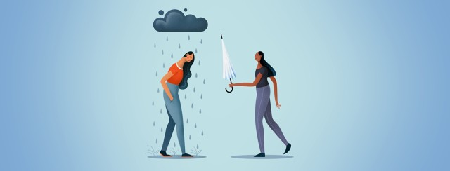 A woman hands an umbrella to a figure with a rain cloud above them