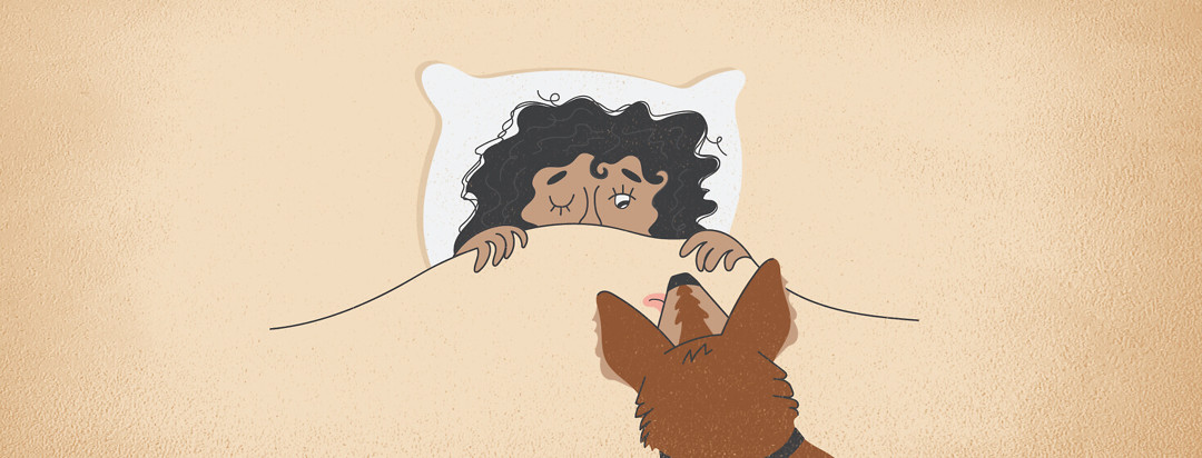 a woman laying in bed with the covers up to her eyes, her hair a mess, and her dog's head resting on the bed imploring her to get up