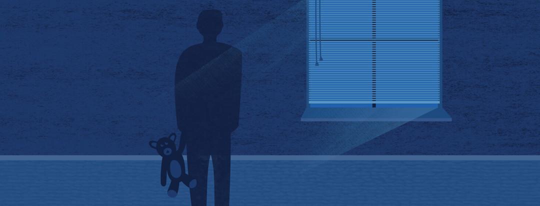 a shadow of a man in a dark room near a window holding a teddy bear