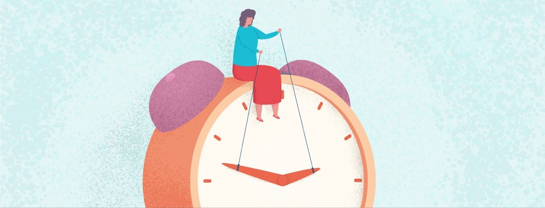 Women sitting on a clock manipulating time, making time for herself.