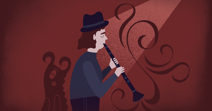 a woman playing a clarinet while a monster sleeps in the dark behind her