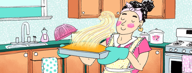 A woman bakes bread in the kitchen smiling
