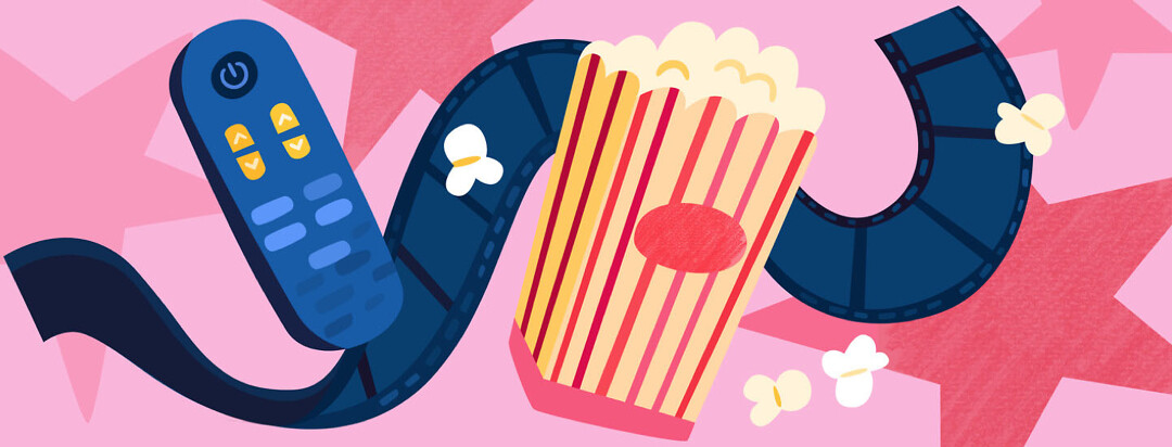 A film reel, popcorn, and a television remote control