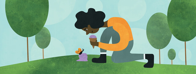 A woman crouched down looking at a butterfly that is perched on her spilled ice cream