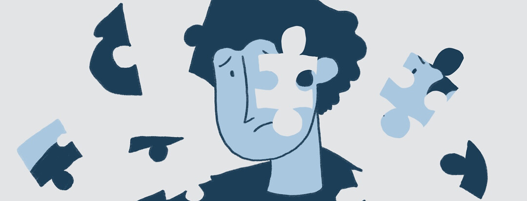 person's face with missing pieces shaped like puzzle pieces