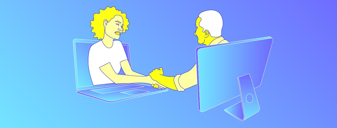 two people, each protruding from their respective computers, share an embrace