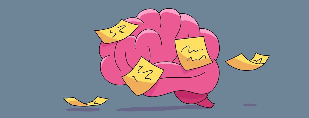A brain with yellow sticky notes all over it