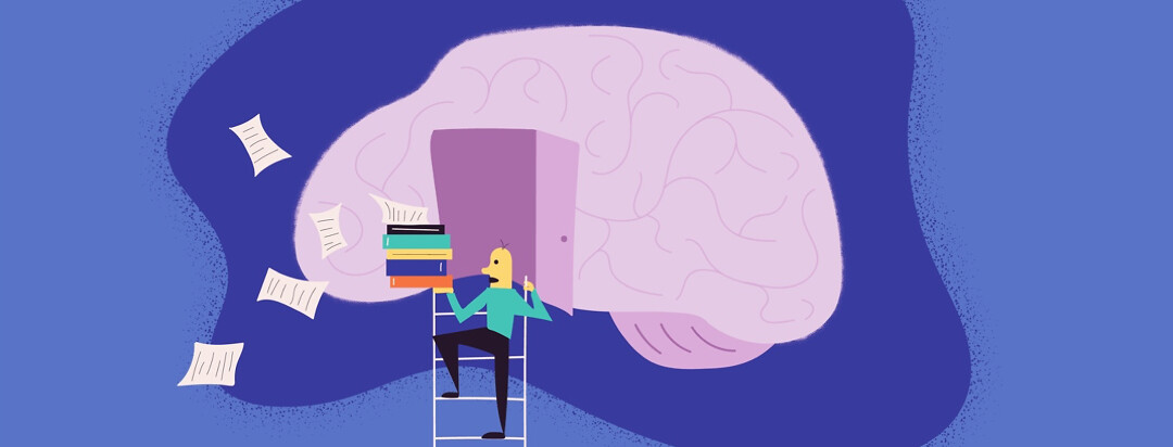 A person climbing up a ladder into a brain, looking distressed as their stack of papers and books blow away from them