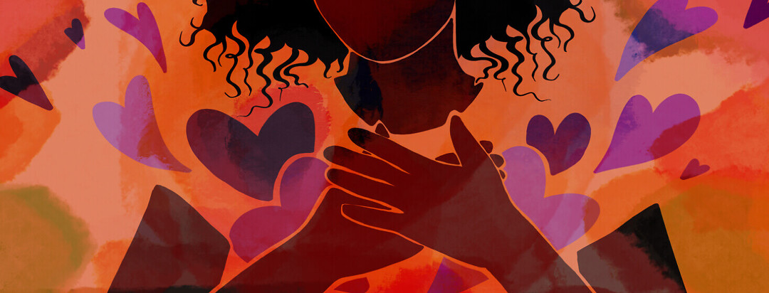 A woman holds her hands over her chest as heart spring out from underneath them
