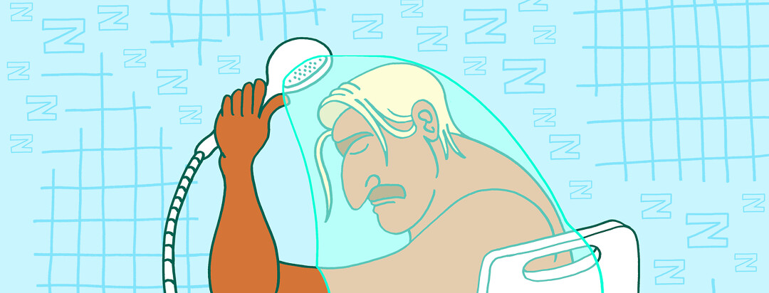 a man sleeps while taking a shower