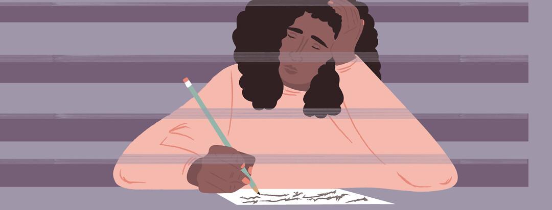 a woman falls asleep while writing