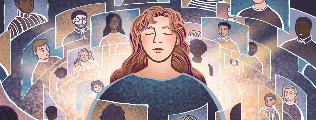 A woman is surrounded by a supportive virtual community of people, each on their own screen