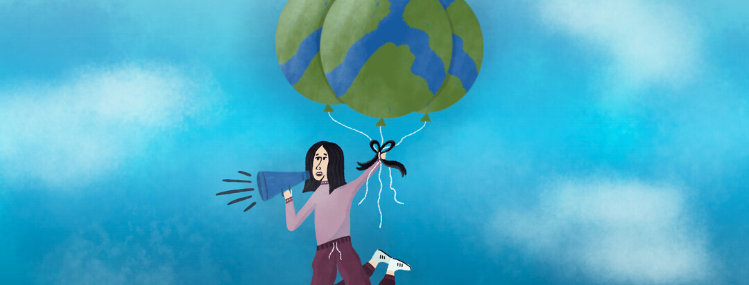 a woman is being pulled up into the sky by balloons that look like the earth while she holds and talks into a megaphone