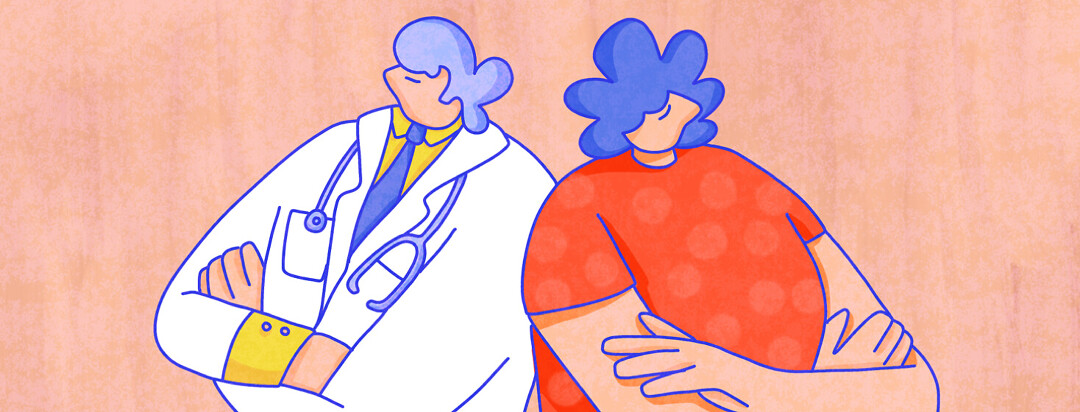 A doctor and a patient have backs facing each other, arms crossed, looking opposite ways