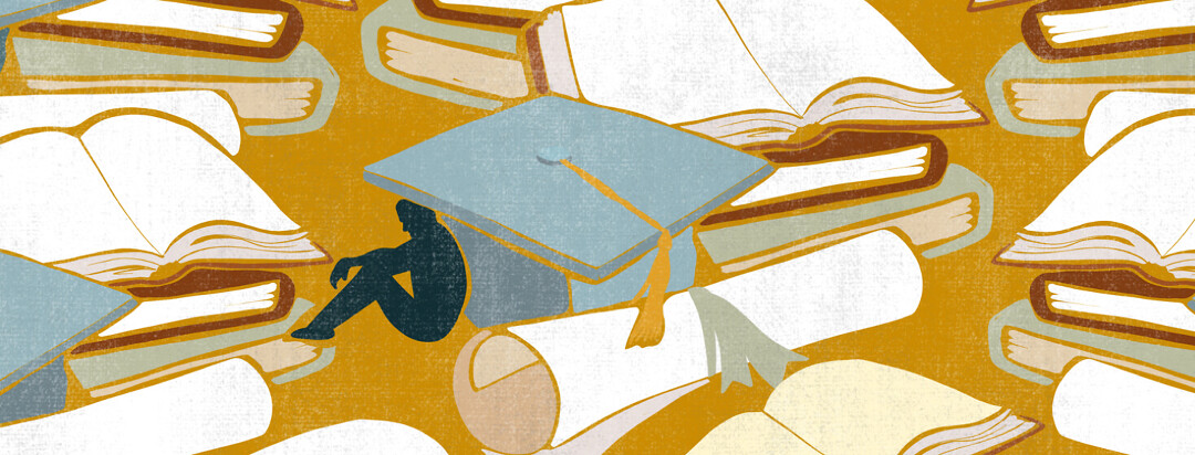 A sad figure sits hunched underneath of a large graduation cap, with diplomas and books scattered throughout the scene