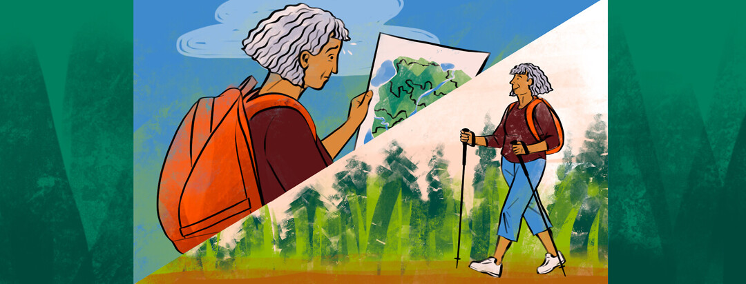 a woman looking confused at a map, and the same woman hiking happily