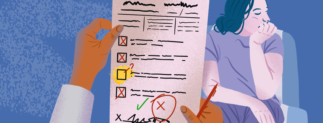 a woman looks tired and defeated while a doctor holds up a checklist
