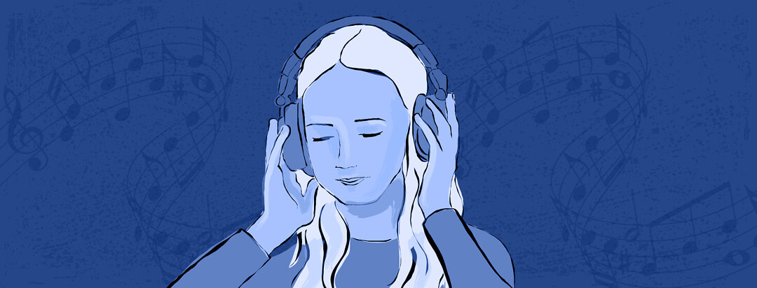 a woman with headphones on with music in the background